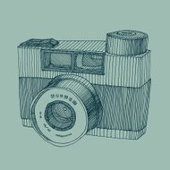 hipster photo camera engraved retro style hand drawn vector