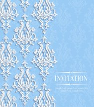 Vector Blue Vintage Invitation Card with Floral Damask Pattern