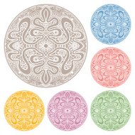 Circle lace ornament, round ornamental geometric doily pattern, christmas snowflake