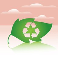 Leaf with Recycle Logo