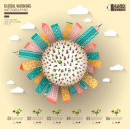 Cityscape illustration with global warming infographic elements