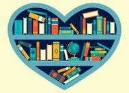 Heart shaped book shelf with colorful books, heart of knowledge
