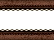 Brown leather with zipper empty copy space