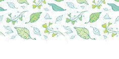 Vector lineart spring leaves horizontal border seamless pattern background