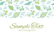 Vector lineart spring leaves horizontal border greeting card invitation template
