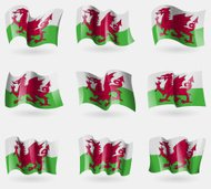 Set of Wales flags in the air.