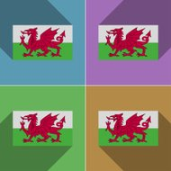 Flags Wales. Set of colors flat design and long shadows.