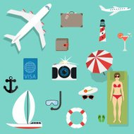 Vector icons concepts in flat style - travel and vacation
