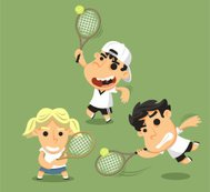 Children playing tennis with racket ball and equipment