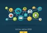 Abstract infographic social media network background: lines, circles, flat icons.