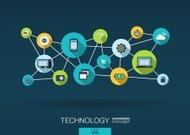 Abstract infographic technology network vector background: lines, circles, flat icons.