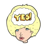 cartoon woman thinking yes