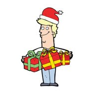 cartoon man with gifts