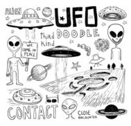 Set of alien and ufo icon, hand drawn vector illustration.