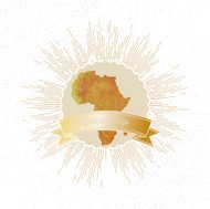 Africa map with vintage style star burst, yellow watercolor background