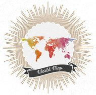 World map with vintage style star burst, colorful rainbow watercolor