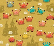 Seamless pattern with crabs and sand castles. Summer beach