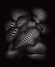 Futuristic Shape with Halftone Pattern. Isolated on Black