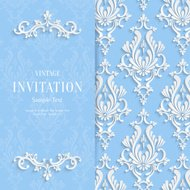 Vector Blue Floral 3d Christmas and Invitation Background Template