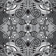 grey authentic seamless floral geometric pattern