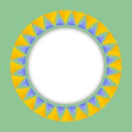 Circle paper sticker with watercolor round  pattern of triangle .