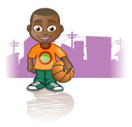 Afro American Boy with basketball
