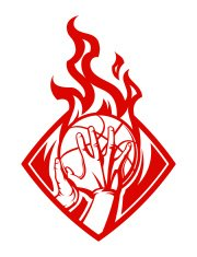 basketball emblem with flame