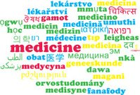 Medicine multilanguage wordcloud background concept