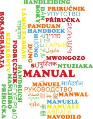 Manual multilanguage wordcloud background concept