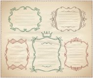 Hand drawn monogram vintage frames with place for text