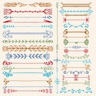 Hand drawn dividers design elements color set. Vector illustration.