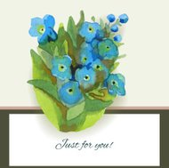 Greeting card with forget-me-flower. It contains clipping masks