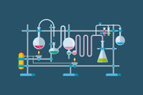 Chemical Laboratory Equipment Objects with a Series of Flasks and