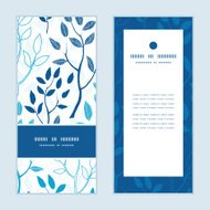 Vector blue forest vertical frame pattern invitation greeting cards set