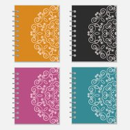 Set of colorful notebook covers with flower design