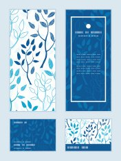 Vector blue forest vertical frame pattern invitation greeting, RSVP and