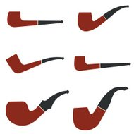 Tobacco smoking pipe set in color.