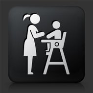 Black Square Button with Baby & Mother Icon