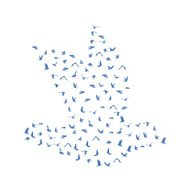 Doves and pigeons set for peace concept and wedding design.