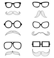 set of glasses and a mustache