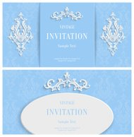 Vector Blue Floral 3d Background. Template Christmas or Invitation Cards