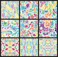 Set of nine hand-drawn seamless patterns