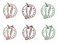 set of chili pepper emblems