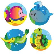 Vector set of images the marine life