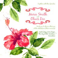 Vector background with red watercolor hibiscus