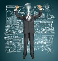 Vector Lamp Head Businessman With Hands Up