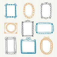 Vintage photo frames. Hand drawn set