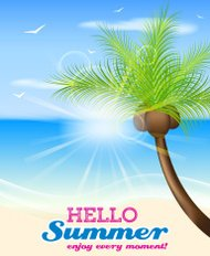 Hello summer vector background with palm tree, seaside and coconuts