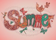 Vector summer text with flowers, dragonflies, beetles, bird and