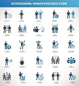 Businessman,Human resource icons,blue version design,clean vector